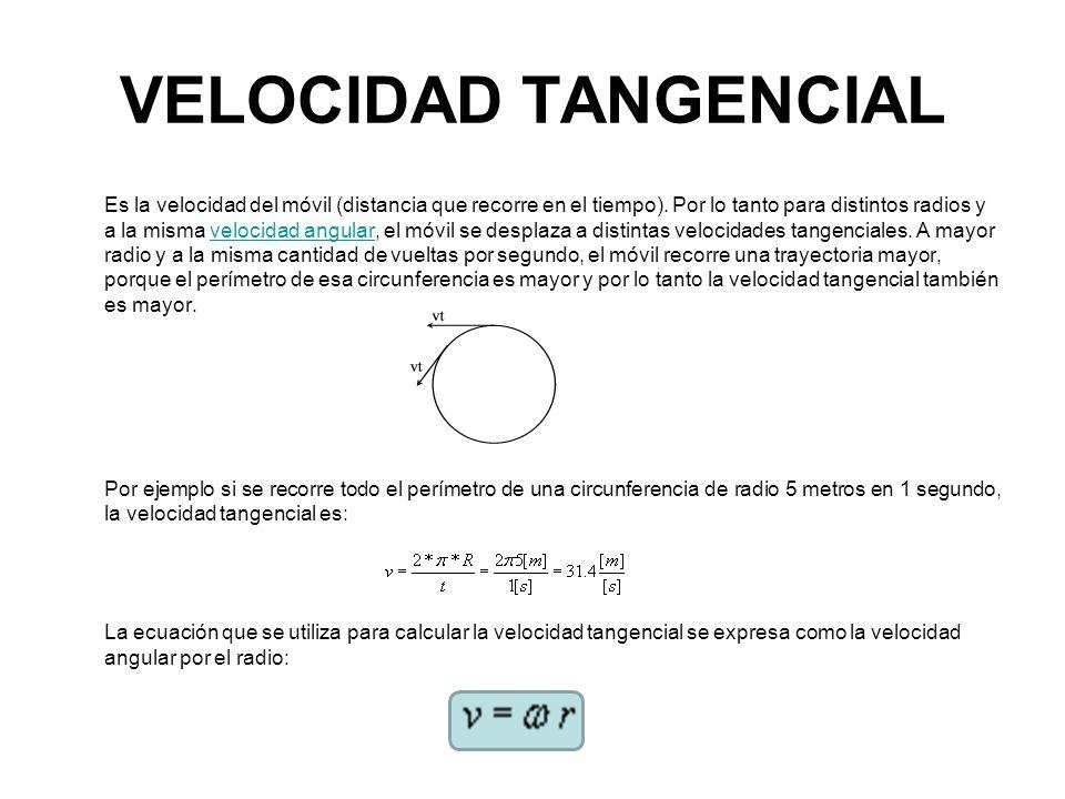 VELOCIDAD TANGENCIAL Es la velocidad del móvil (distancia que recorre en el tiempo). Por lo tanto para distintos radios y a la misma velocidad angular