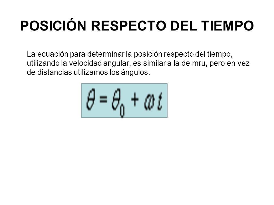 POSICIÓN RESPECTO DEL TIEMPO La ecuación para determinar la posición respecto del tiempo, utilizando la velocidad angular, es similar a la de mru, per