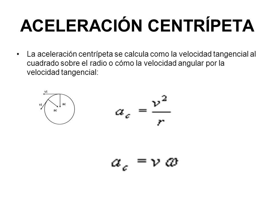 ACELERACIÓN CENTRÍPETA La aceleración centrípeta se calcula como la velocidad tangencial al cuadrado sobre el radio o cómo la velocidad angular por la