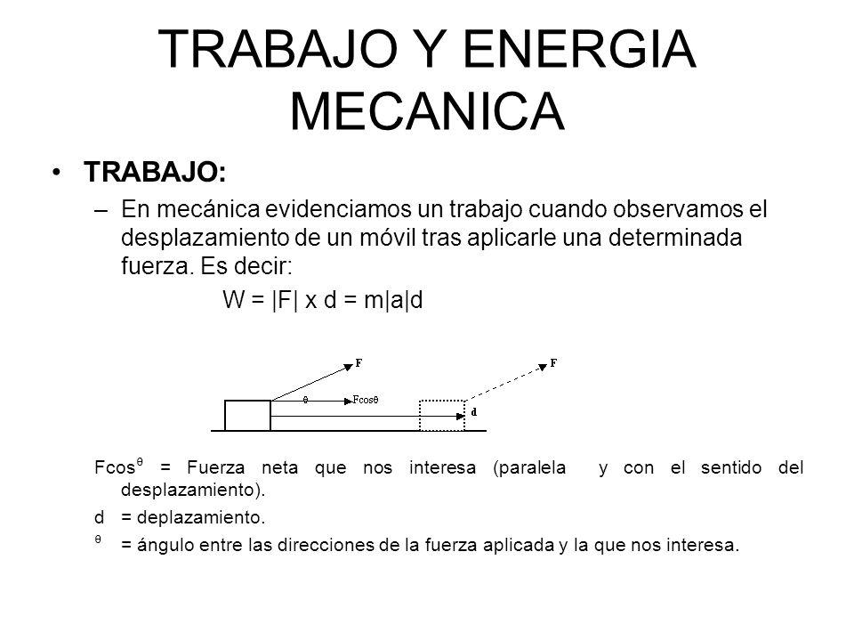TRABAJO Y ENERGIA MECANICA TRABAJO: –En mecánica evidenciamos un trabajo cuando observamos el desplazamiento de un móvil tras aplicarle una determinad