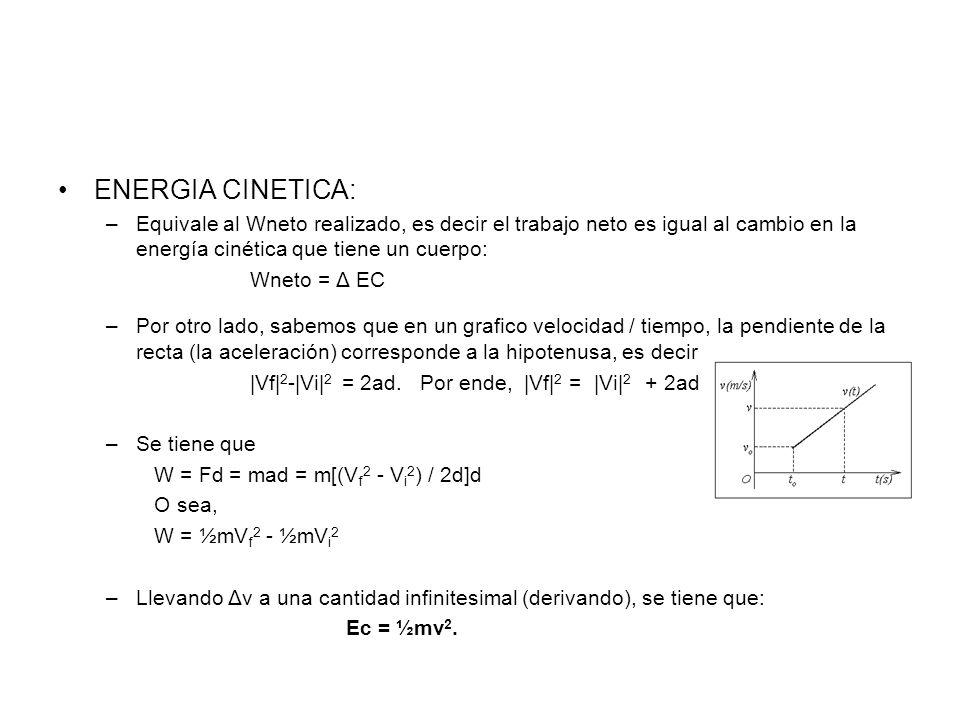 ENERGIA CINETICA: –Equivale al Wneto realizado, es decir el trabajo neto es igual al cambio en la energía cinética que tiene un cuerpo: Wneto = Δ EC –