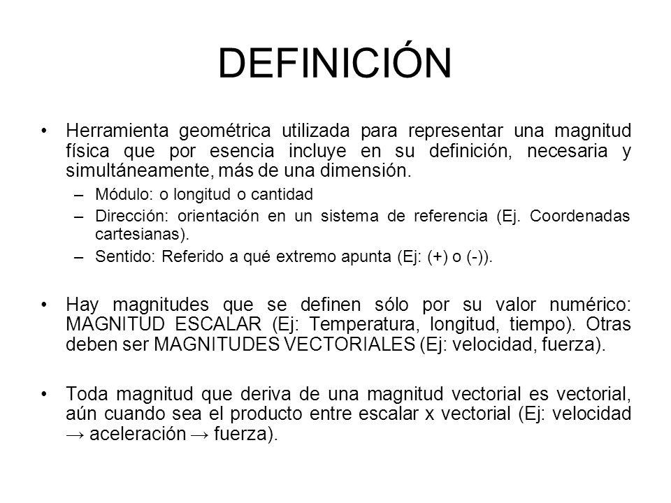 DEFINICIÓN Herramienta geométrica utilizada para representar una magnitud física que por esencia incluye en su definición, necesaria y simultáneamente