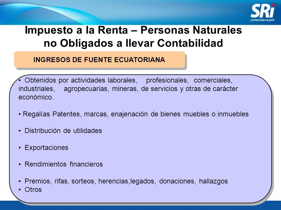 Impuesto a la Renta – Personas Naturales no Obligados a llevar Contabilidad INGRESOS DE FUENTE ECUATORIANA Obtenidos por actividades laborales, profes