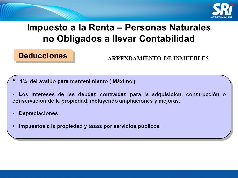 Impuesto a la Renta – Personas Naturales no Obligados a llevar Contabilidad Deducciones 1% del avalúo para mantenimiento ( Máximo ) Los intereses de l