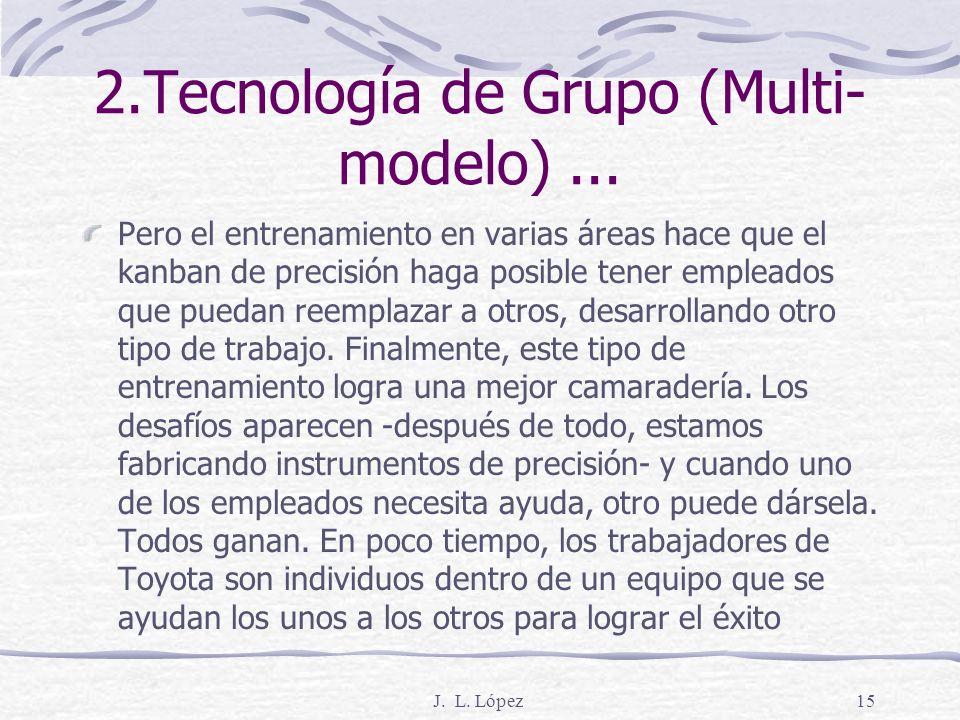 J. L. López14 2.Tecnología de Grupo (Multi- modelo)... Todos son profesionales de la tecnología que tienen conocimientos más amplios. Segundo, crea un
