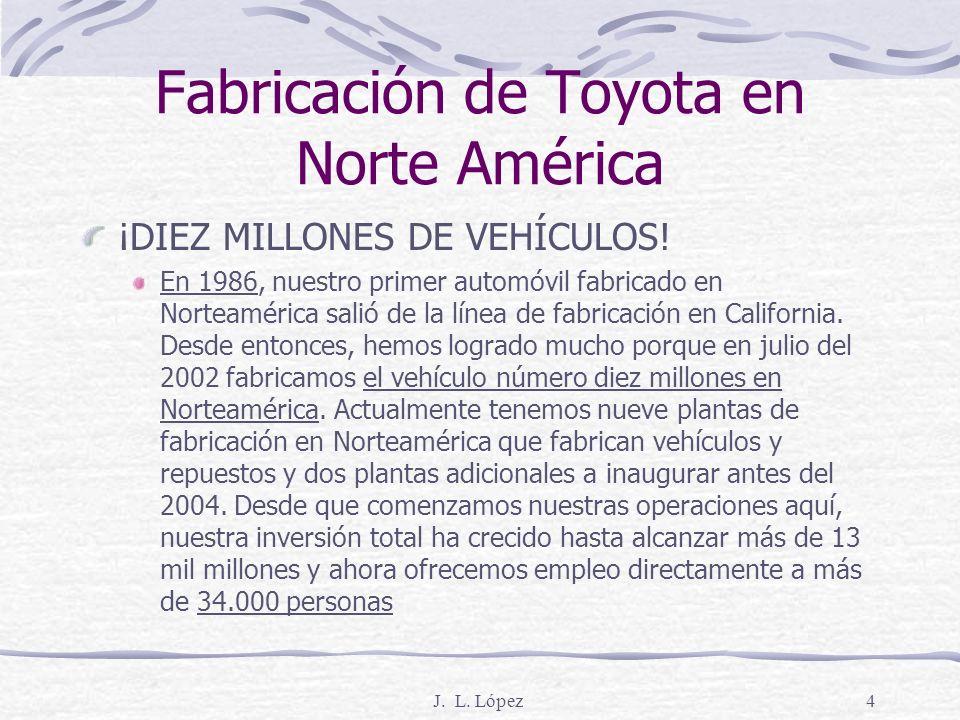 J.L. López4 Fabricación de Toyota en Norte América ¡DIEZ MILLONES DE VEHÍCULOS.