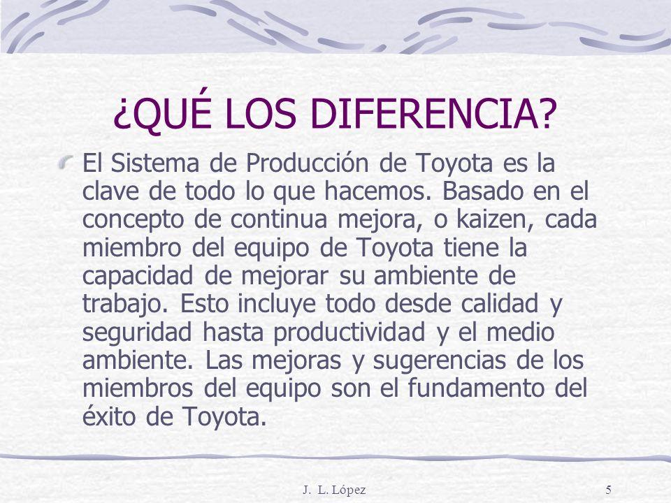J. L. López4 Fabricación de Toyota en Norte América ¡DIEZ MILLONES DE VEHÍCULOS! En 1986, nuestro primer automóvil fabricado en Norteamérica salió de