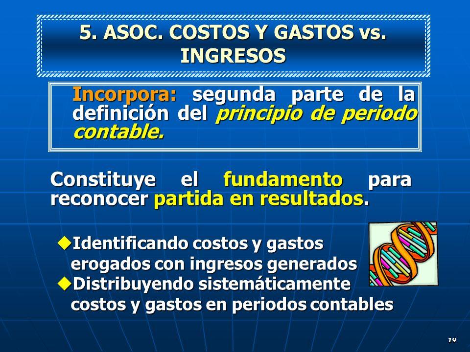 19 Incorpora: segunda parte de la definición del principio de periodo contable. 5. ASOC. COSTOS Y GASTOS vs. INGRESOS Constituye el fundamento para re