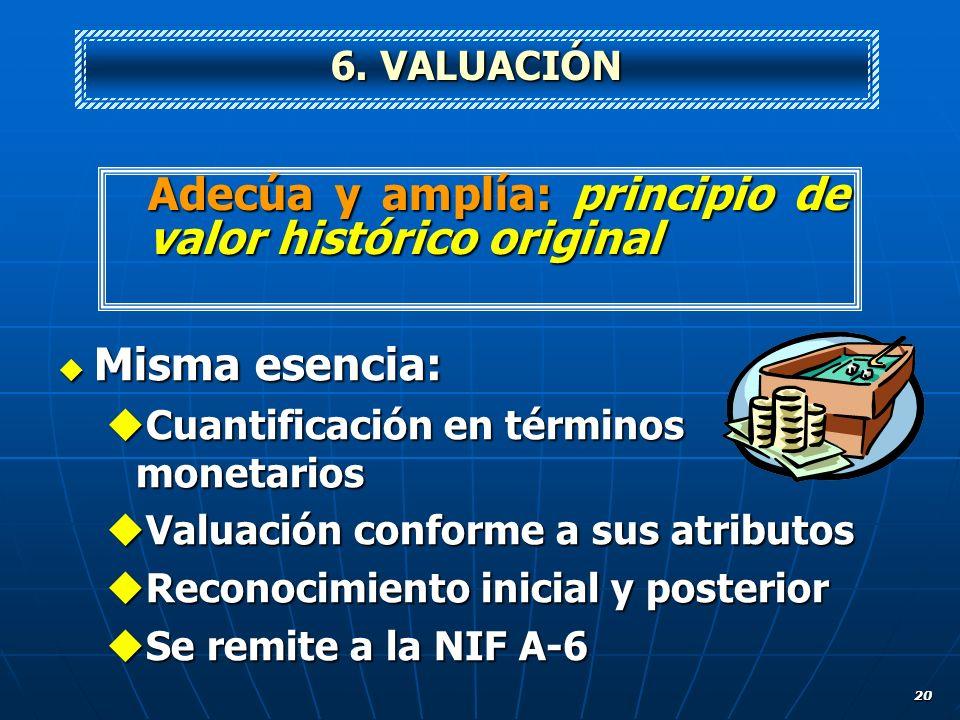 20 Misma esencia: Misma esencia: Cuantificación en términos monetarios Cuantificación en términos monetarios Valuación conforme a sus atributos Valuac