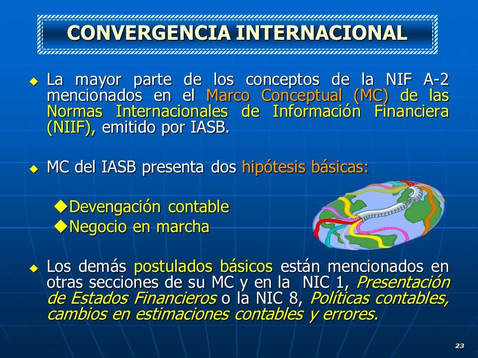 23 La mayor parte de los conceptos de la NIF A-2 mencionados en el Marco Conceptual (MC) de las Normas Internacionales de Información Financiera (NIIF
