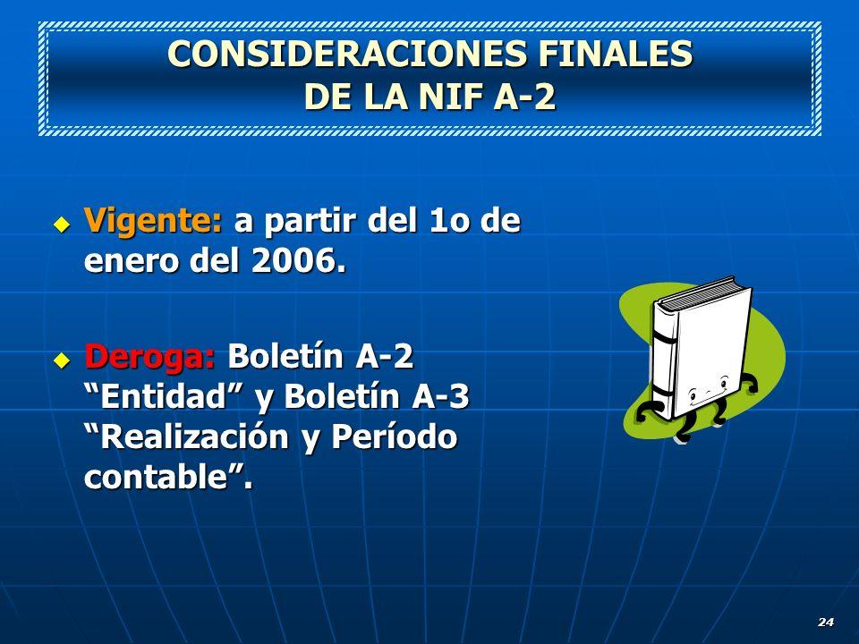 24 CONSIDERACIONES FINALES DE LA NIF A-2 Vigente: a partir del 1o de enero del 2006. Vigente: a partir del 1o de enero del 2006. Deroga: Boletín A-2 E