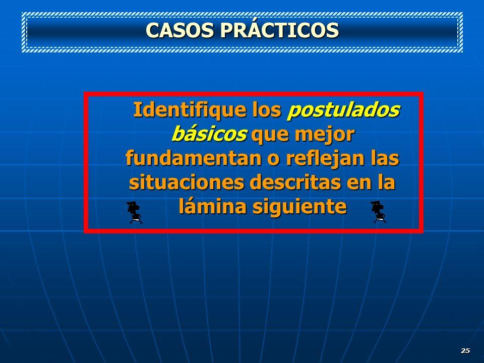 25 CASOS PRÁCTICOS Identifique los postulados básicos que mejor fundamentan o reflejan las situaciones descritas en la lámina siguiente Identifique lo