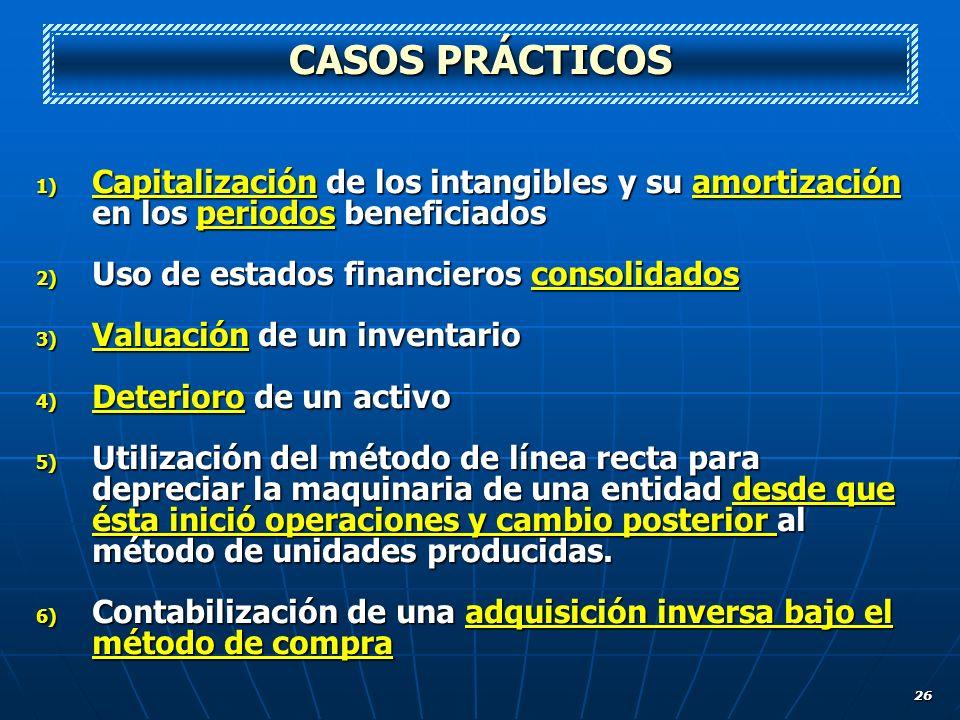 26 CASOS PRÁCTICOS 1) Capitalización de los intangibles y su amortización en los periodos beneficiados 2) Uso de estados financieros consolidados 3) V
