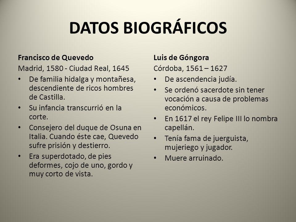 LA RELACIÓN ENTRE QUEVEDO Y GÓNGORA Góngora y Quevedo fueron dos grandes poetas del Siglo XVII que durante toda su vida estuvieron enfrentados por razones ideológicas: Góngora era culterano mientras que Quevedo era conceptista.