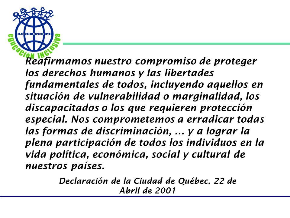 Reafirmamos nuestro compromiso de proteger los derechos humanos y las libertades fundamentales de todos, incluyendo aquellos en situación de vulnerabi
