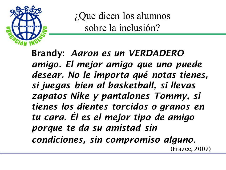 ¿Que dicen los alumnos sobre la inclusión? Brandy: Aaron es un VERDADERO amigo. El mejor amigo que uno puede desear. No le importa qué notas tienes, s