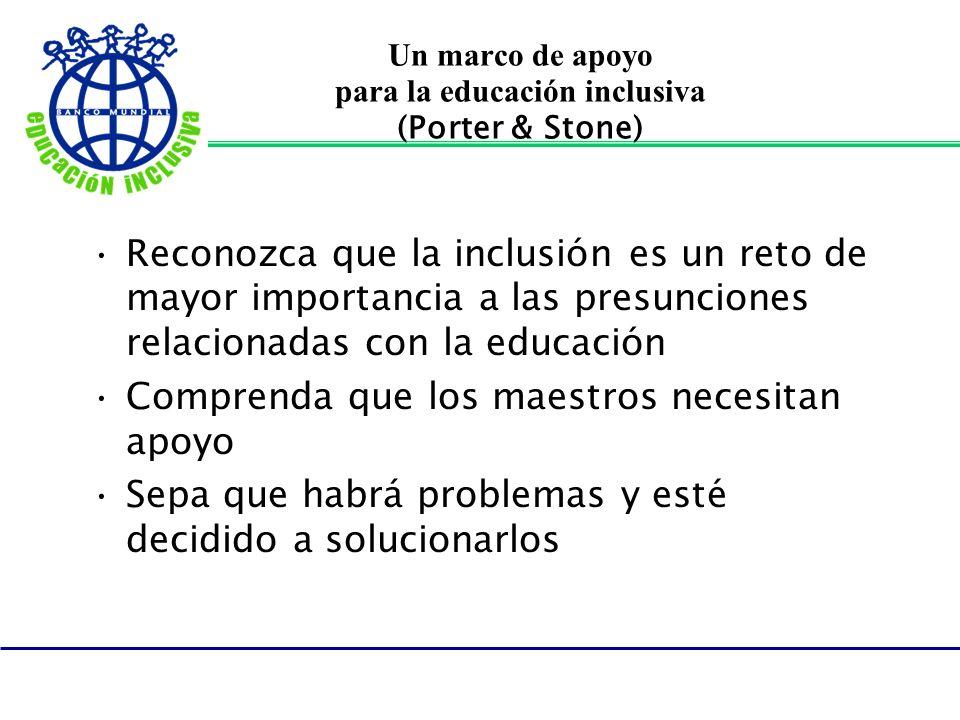 Un marco de apoyo para la educación inclusiva (Porter & Stone) Reconozca que la inclusión es un reto de mayor importancia a las presunciones relaciona