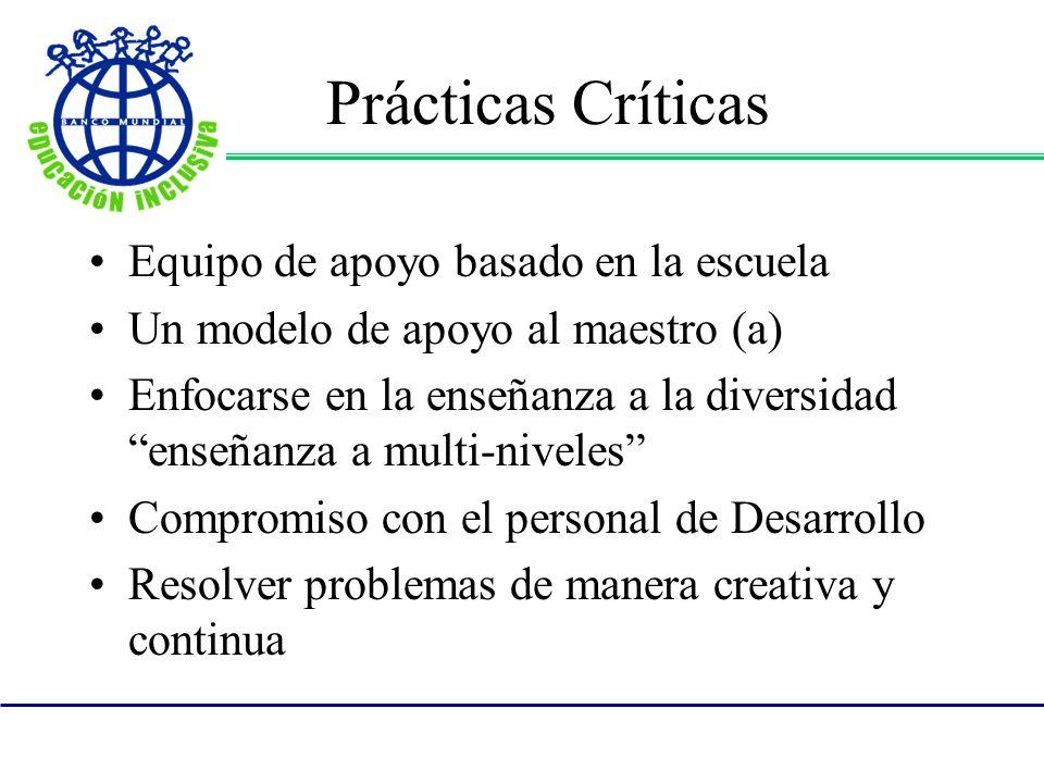 Prácticas Críticas Equipo de apoyo basado en la escuela Un modelo de apoyo al maestro (a) Enfocarse en la enseñanza a la diversidad enseñanza a multi-