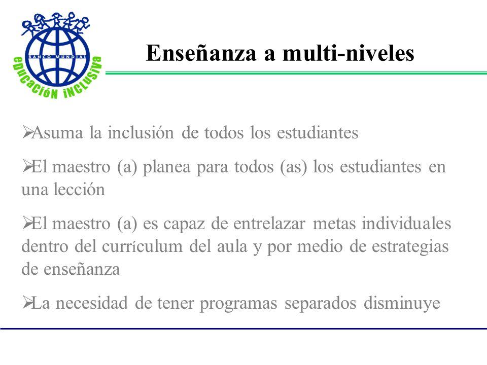 Asuma la inclusión de todos los estudiantes El maestro (a) planea para todos (as) los estudiantes en una lección El maestro (a) es capaz de entrelazar
