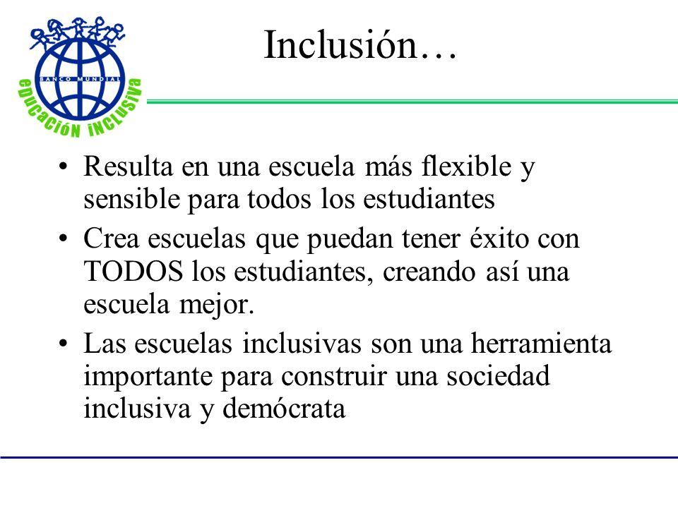 Inclusión… Resulta en una escuela más flexible y sensible para todos los estudiantes Crea escuelas que puedan tener éxito con TODOS los estudiantes, c
