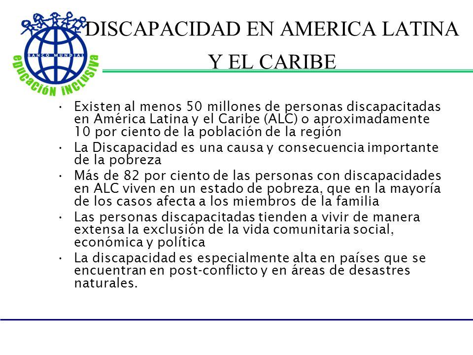 DISCAPACIDAD EN AMERICA LATINA Y EL CARIBE Existen al menos 50 millones de personas discapacitadas en América Latina y el Caribe (ALC) o aproximadamen