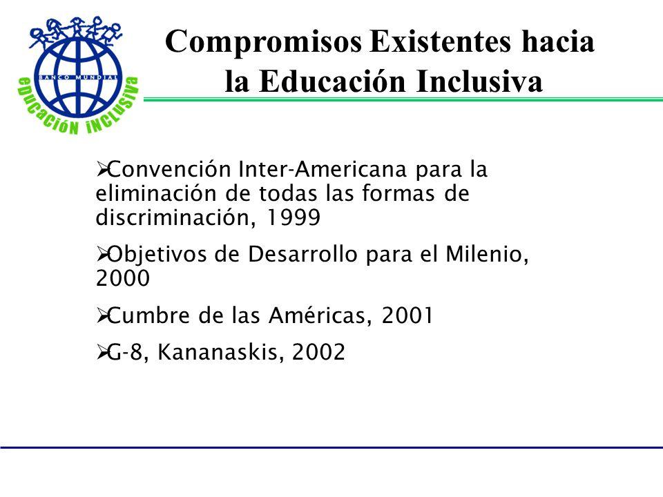 Compromisos Existentes hacia la Educación Inclusiva Convención Inter-Americana para la eliminación de todas las formas de discriminación, 1999 Objetiv