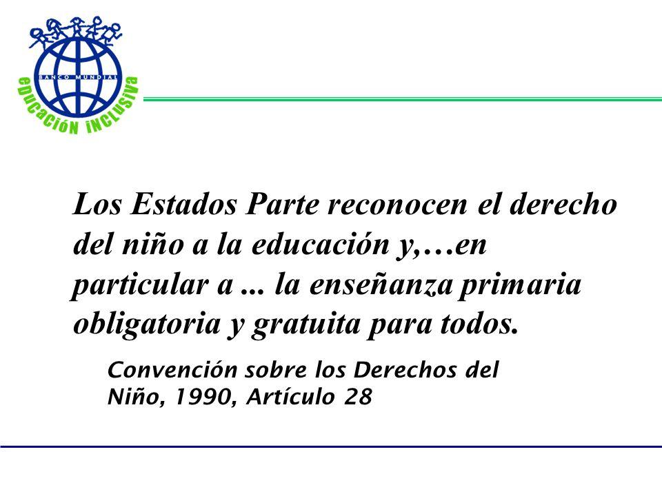 Los Estados Parte reconocen el derecho del niño a la educación y,…en particular a... la enseñanza primaria obligatoria y gratuita para todos. Convenci