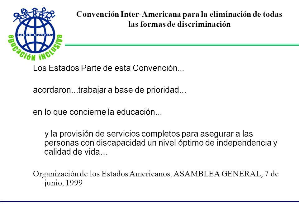 Convención Inter-Americana para la eliminación de todas las formas de discriminación Los Estados Parte de esta Convención... acordaron...trabajar a ba