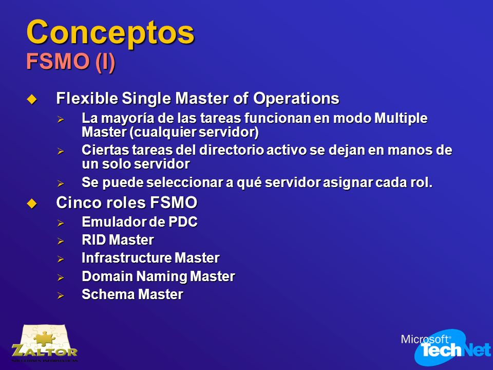 Conceptos FSMO (I) Flexible Single Master of Operations Flexible Single Master of Operations La mayoría de las tareas funcionan en modo Multiple Maste