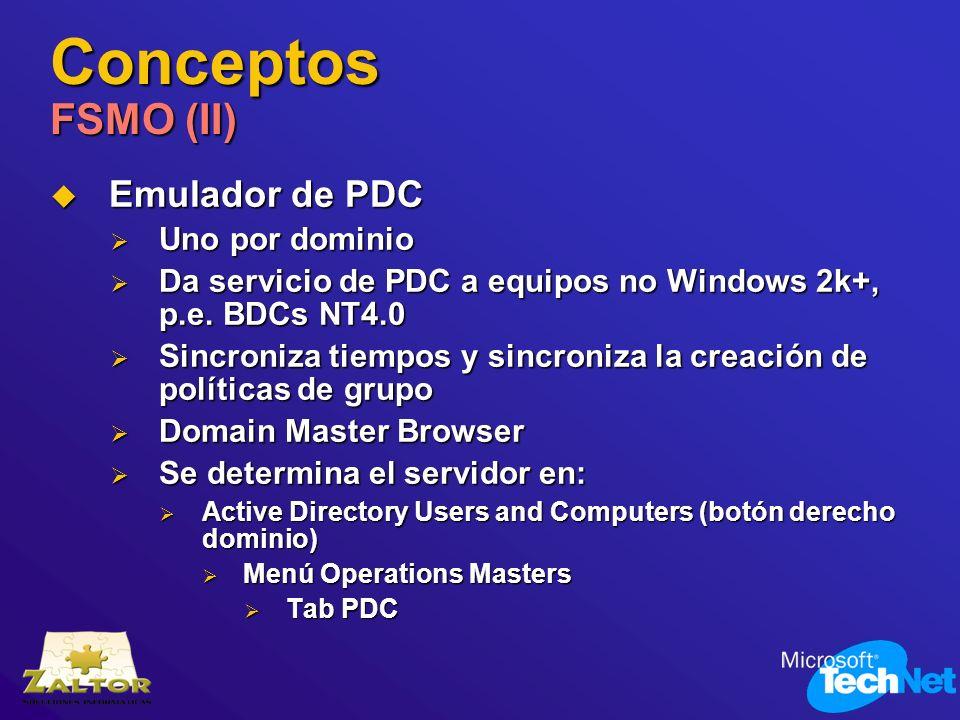 Conceptos FSMO (II) Emulador de PDC Emulador de PDC Uno por dominio Uno por dominio Da servicio de PDC a equipos no Windows 2k+, p.e. BDCs NT4.0 Da se