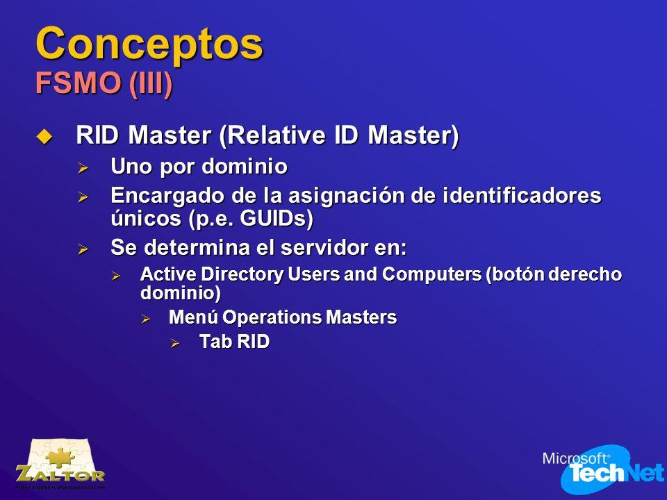 Conceptos FSMO (III) RID Master (Relative ID Master) RID Master (Relative ID Master) Uno por dominio Uno por dominio Encargado de la asignación de ide