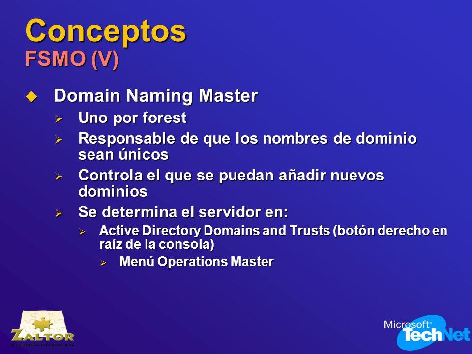 Conceptos FSMO (V) Domain Naming Master Domain Naming Master Uno por forest Uno por forest Responsable de que los nombres de dominio sean únicos Respo