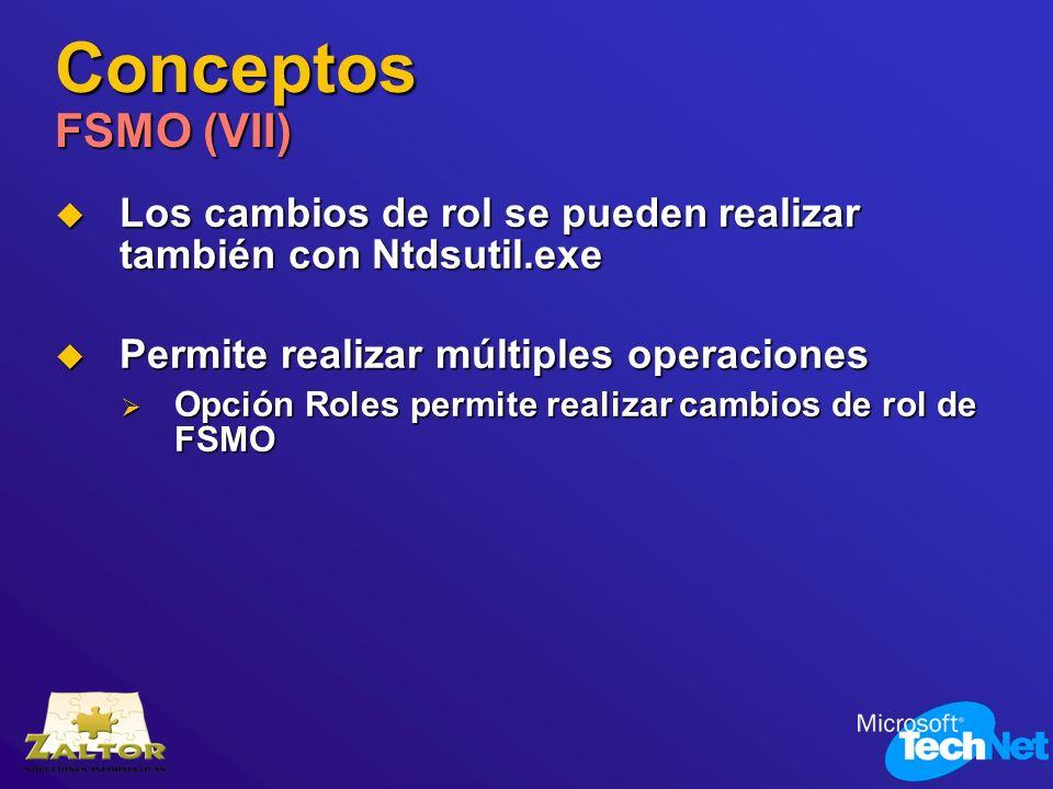 Conceptos FSMO (VII) Los cambios de rol se pueden realizar también con Ntdsutil.exe Los cambios de rol se pueden realizar también con Ntdsutil.exe Per
