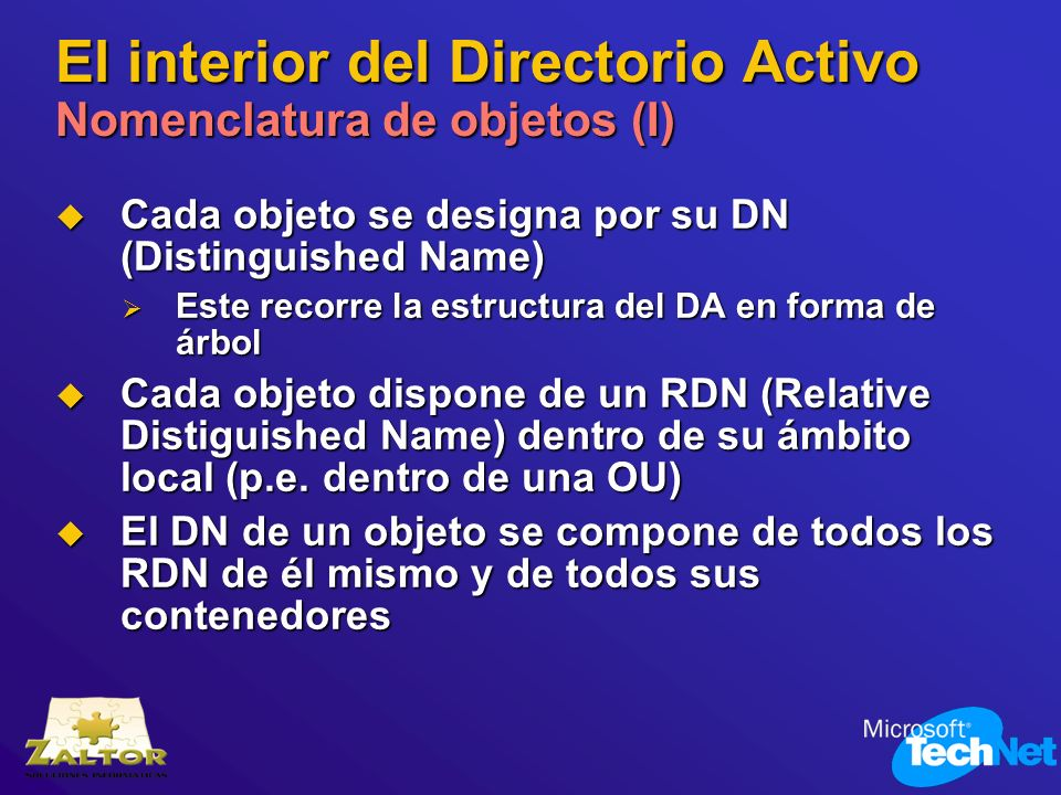 El interior del Directorio Activo Nomenclatura de objetos (I) Cada objeto se designa por su DN (Distinguished Name) Cada objeto se designa por su DN (