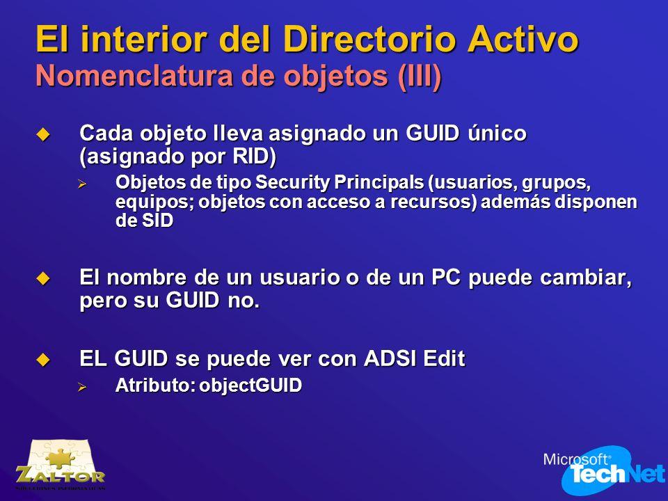 El interior del Directorio Activo Nomenclatura de objetos (III) Cada objeto lleva asignado un GUID único (asignado por RID) Cada objeto lleva asignado