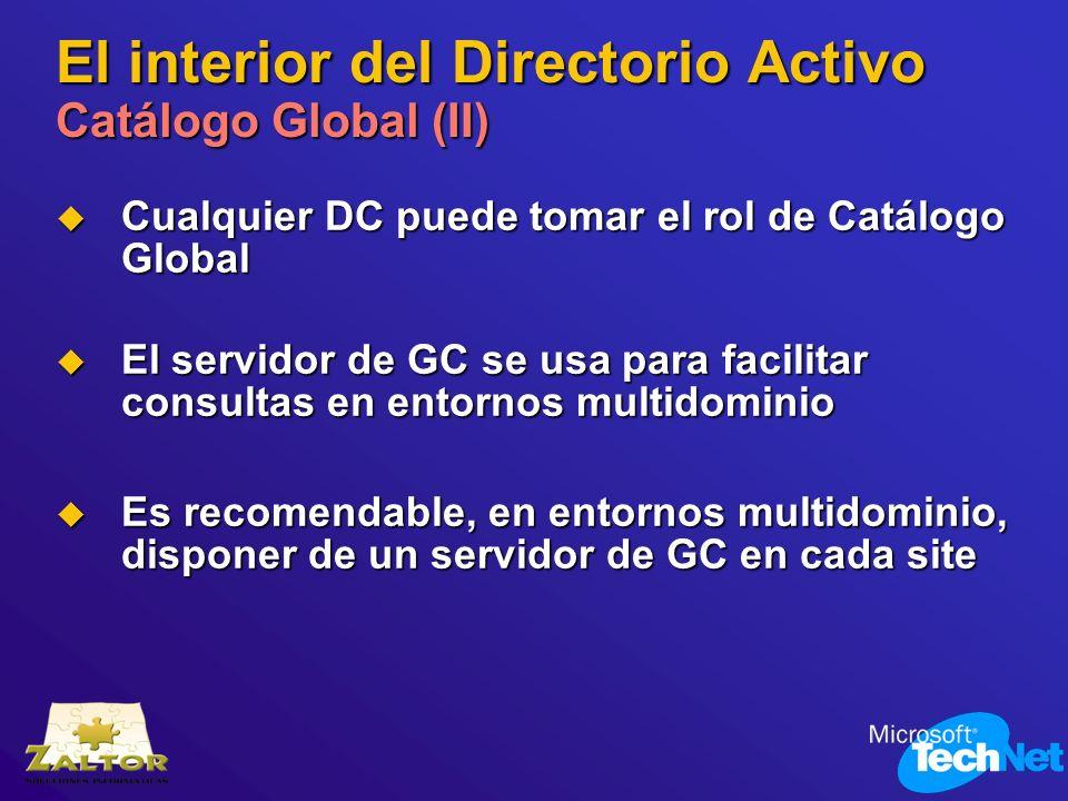 El interior del Directorio Activo Catálogo Global (II) Cualquier DC puede tomar el rol de Catálogo Global Cualquier DC puede tomar el rol de Catálogo
