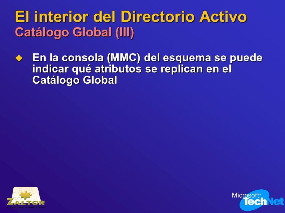 El interior del Directorio Activo Catálogo Global (III) En la consola (MMC) del esquema se puede indicar qué atributos se replican en el Catálogo Glob