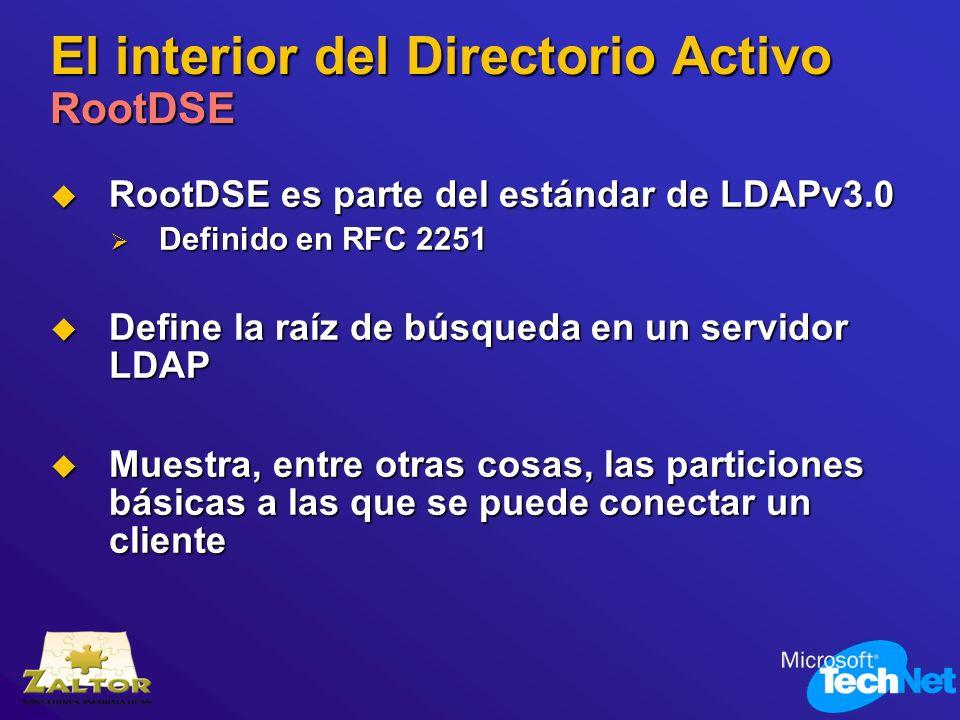 El interior del Directorio Activo RootDSE RootDSE es parte del estándar de LDAPv3.0 RootDSE es parte del estándar de LDAPv3.0 Definido en RFC 2251 Def