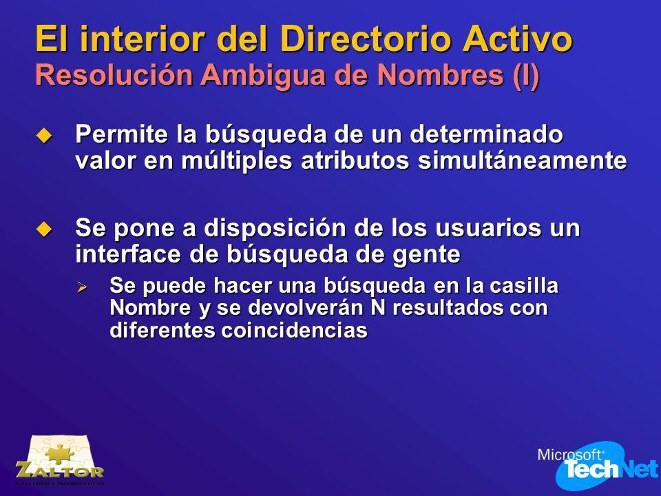 El interior del Directorio Activo Resolución Ambigua de Nombres (I) Permite la búsqueda de un determinado valor en múltiples atributos simultáneamente