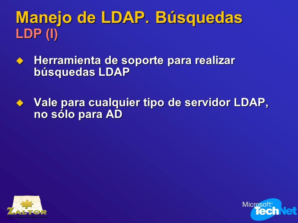 Manejo de LDAP. Búsquedas LDP (I) Herramienta de soporte para realizar búsquedas LDAP Herramienta de soporte para realizar búsquedas LDAP Vale para cu