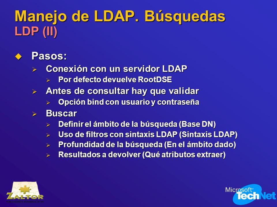 Manejo de LDAP. Búsquedas LDP (II) Pasos: Pasos: Conexión con un servidor LDAP Conexión con un servidor LDAP Por defecto devuelve RootDSE Por defecto