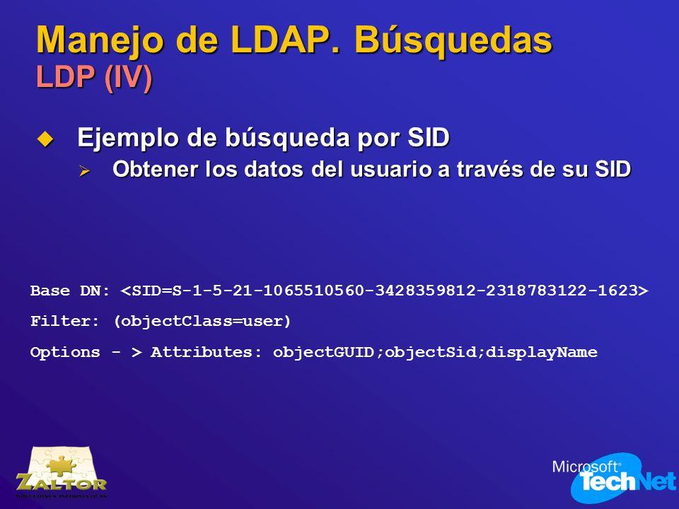 Manejo de LDAP. Búsquedas LDP (IV) Ejemplo de búsqueda por SID Ejemplo de búsqueda por SID Obtener los datos del usuario a través de su SID Obtener lo