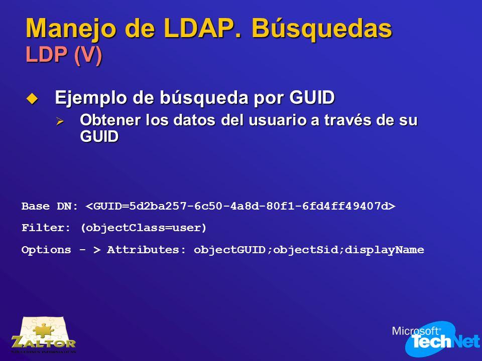 Manejo de LDAP. Búsquedas LDP (V) Ejemplo de búsqueda por GUID Ejemplo de búsqueda por GUID Obtener los datos del usuario a través de su GUID Obtener