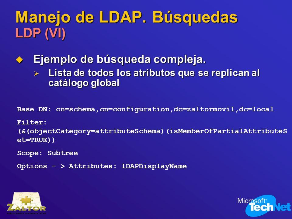 Manejo de LDAP. Búsquedas LDP (VI) Ejemplo de búsqueda compleja. Ejemplo de búsqueda compleja. Lista de todos los atributos que se replican al catálog