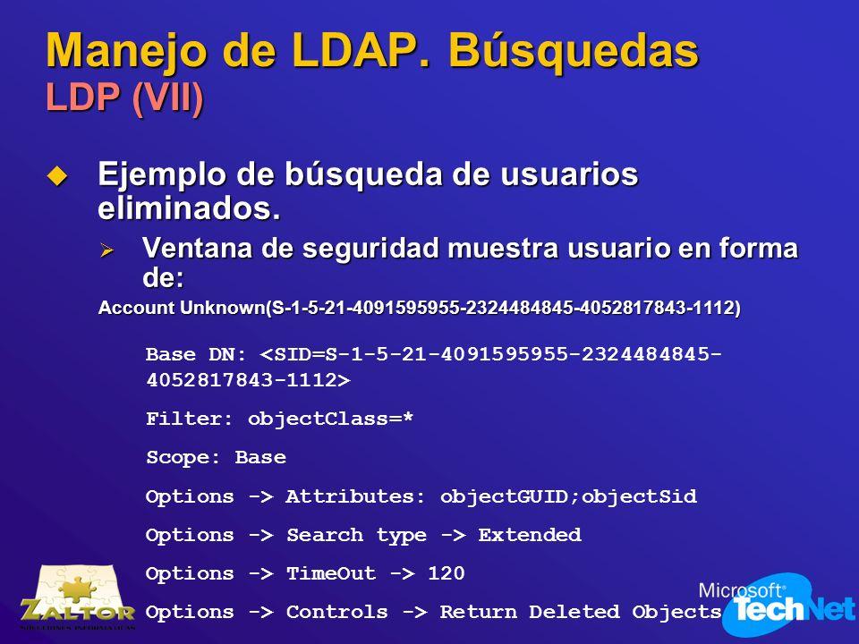 Manejo de LDAP. Búsquedas LDP (VII) Ejemplo de búsqueda de usuarios eliminados. Ejemplo de búsqueda de usuarios eliminados. Ventana de seguridad muest