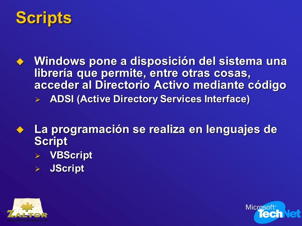 Scripts Windows pone a disposición del sistema una librería que permite, entre otras cosas, acceder al Directorio Activo mediante código Windows pone