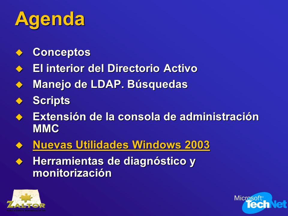 Agenda Conceptos Conceptos El interior del Directorio Activo El interior del Directorio Activo Manejo de LDAP. Búsquedas Manejo de LDAP. Búsquedas Scr