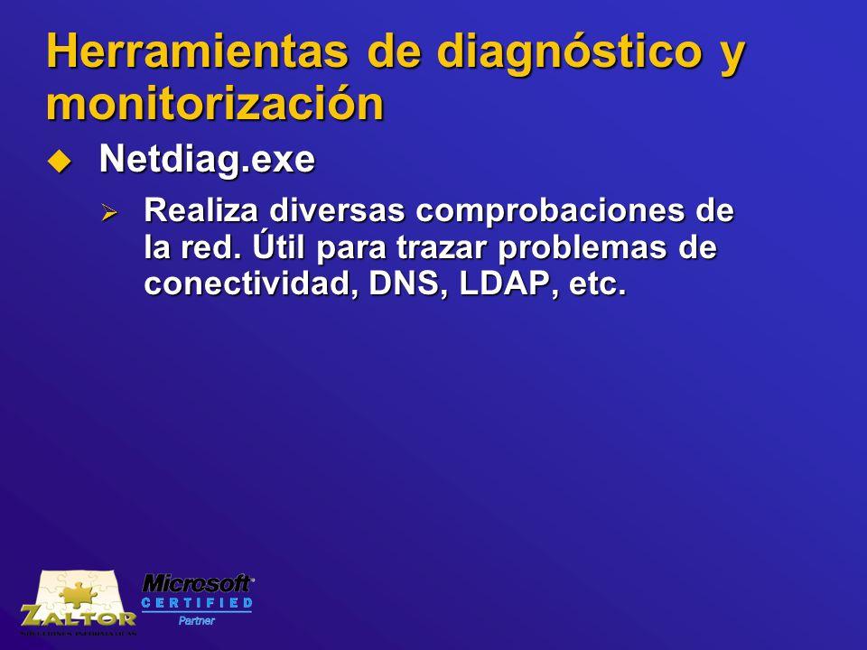 Herramientas de diagnóstico y monitorización Netdiag.exe Netdiag.exe Realiza diversas comprobaciones de la red. Útil para trazar problemas de conectiv