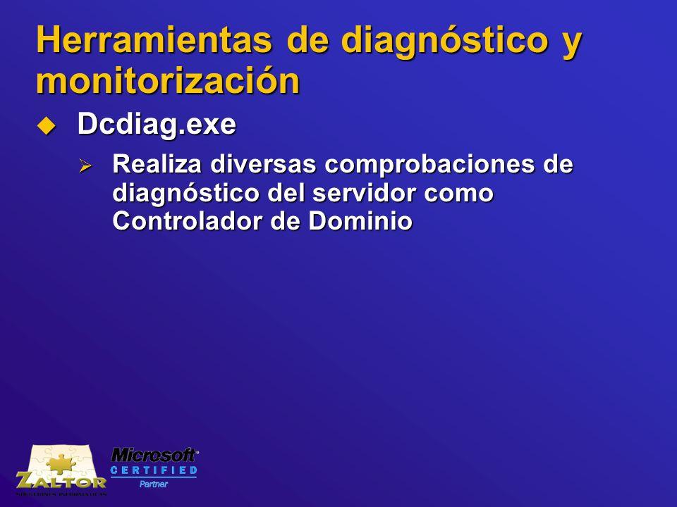 Herramientas de diagnóstico y monitorización Dcdiag.exe Dcdiag.exe Realiza diversas comprobaciones de diagnóstico del servidor como Controlador de Dom