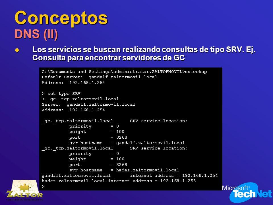 Conceptos DNS (II) Los servicios se buscan realizando consultas de tipo SRV. Ej. Consulta para encontrar servidores de GC Los servicios se buscan real